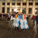 IranPride flag in Brussels, Belgium